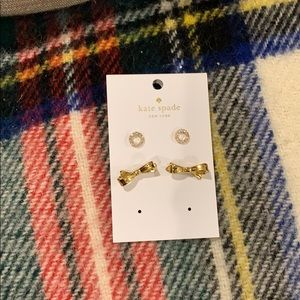 New Kate spade bow and circle earrings set